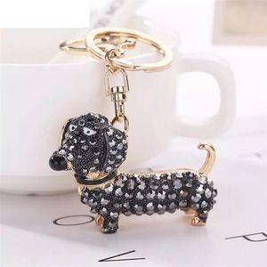 Crystal Hot Dog Puppy on a Gold Keychain